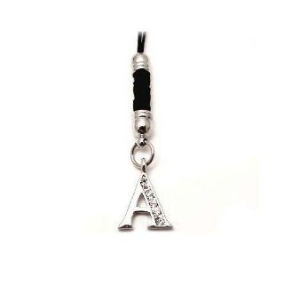 Universal Black Silver Initial A Cell Phone Charm Strap O Ring 3.5mm Plug Cell Phones & Accessories