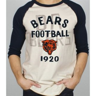 Junk Food Chicago Bears Rookie Raglan Quarter Sleeve T Shirt   Tan/Navy Blue