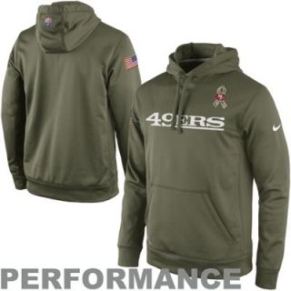 Nike San Francisco 49ers Salute to Service KO Pullover Performance Hoodie   Olive