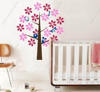 Custom PopDecals   ful flower tree (four s)   57 in high   Beautiful Tree Wall Decals for Kids Rooms Teen Girls Boys Wallpaper Murals Sticker Wall Stickers Nursery Decor Nursery Decals   Nursery Decor Products