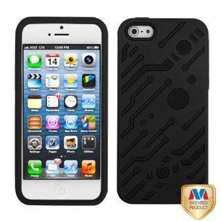 Apple iPhone 5 Hard Plastic Snap on Cover Rubberized Black/Black Circuitboard Hybrid AT&T, Cricket, Sprint, Verizon Plus A Free LCD Screen Protector (does NOT fit Apple iPhone or iPhone 3G/3GS or iPhone 4/4S) Cell Phones & Accessories