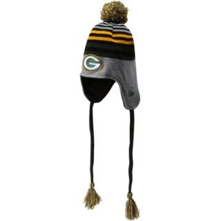 New Era Green Bay Packers Stripe Top Knit Hat with Tassels and Pom   Ash/Green/Gold
