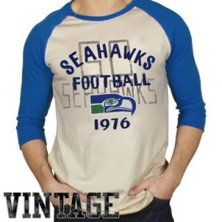 Junk Food Seattle Seahawks Rookie Raglan Three Quarter Length Sleeve T Shirt   Tan/College Navy