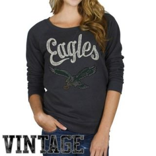 Junk Food Philadelphia Eagles Ladies Vintage Field Goal Fleece Sweatshirt   Black