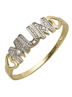 9 Carat Yellow Gold Diamond   Set Mum Ring