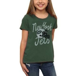 Junk Food New York Jets Youth Girls Glitter T Shirt   Green
