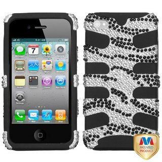 Hard Plastic Snap on Cover Fits Apple iPhone 4 4S Black Zebra Skin Diamond Black Fishbone Plus A Free LCD Screen Protector AT&T, Verizon (does NOT fit Apple iPhone or iPhone 3G/3GS or iPhone 5/5S/5C) Cell Phones & Accessories