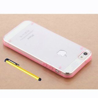 Hard Plastic Snap on Cover Fits Apple iPhone 5 5S Ultra thin Pink Transparent Bumper + A Gold Color Stylus/Pen AT&T, Cricket, Sprint, Verizon (does NOT fit Apple iPhone or iPhone 3G/3GS or iPhone 4/4S or iPhone 5C) Cell Phones & Accessories