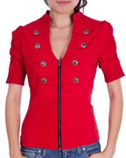 Ladies Red Military Short Sleeve Zipper Crop Jacket