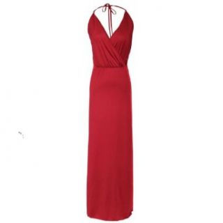 1veMoon Women's V Neck Halter Split Long Slimming Party Dress, Burgundy, Small Long Dresses Cocktail