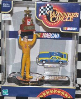 Dale Earnhardt Sr #2 Mike Curb 1st Championship Win 1980 Hasbro 4 Inch Tall Action Figure With 1980 NASCAR (Not Winston Due to Toy) Cup Trophy and 1/64 Scale Diecast Car Winners Circle Hard To Find Toys & Games