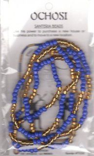 "1 OCHOSI SANTERIA GOLD BLUE BEAD BRACELET   NECKLACE 32 inch   YOU GET One 32"" TO use either AS Bracelet OR Necklace"