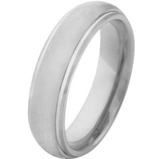 Inox Jewelry Titanium 6mm Matte Finish Center Ring Bands Jewelry