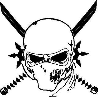 NINJA SKULL WHITE VINYL DECAL STICKER  Automobiles