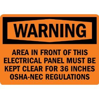 "SmartSign 3M Engineer Grade Reflective Label, Legend ""Warning Electrical Panel Must Be Kept Clear"", 7"" high x 10"" wide, Black on Orange Industrial Warning Signs"