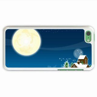 Diy Apple 5C Holidays Christmas Tree New Year House Moon Snow Of Love Gift White Case Cover For Everyone Cell Phones & Accessories