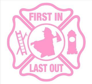 "Firefighter Decals, First Ones In Last Ones Out Maltese Decal Sticker Laptop, Notebook, Window, Car, Bumper, EtcStickers 5""in. in PINK Exterior Window Sticker with"