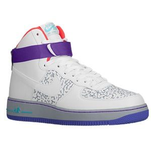 Nike Air Force 1 High   Mens   Basketball   Shoes   White/White/Wolf Grey/Purple Venom