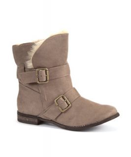 Teens Light Brown Faux Fur Lined Buckle Ankle Boots
