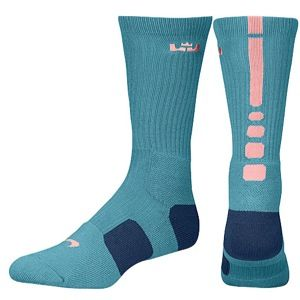 Nike LeBron Elite Basketball Crew   Mens   Basketball   Accessories   Mineral Teal/Brave Blue/Atomic Pink