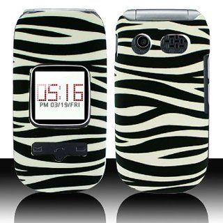 Black White Zebra Stripe Hard Cover Case for Pantech Breeze III 3 P2030 Cell Phones & Accessories