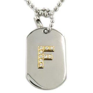 Two tone Clear Crystal Initial Dog Tag Necklace   Letter 'F' Pendant Necklaces Jewelry