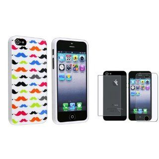 eForCity Colorful Mustaches TPU Rubber Case with FREE 2 LCD Kit (Front & Back) Anti Glare Screen Cover compatible with Apple® iPhone® 5 / 5S Cell Phones & Accessories