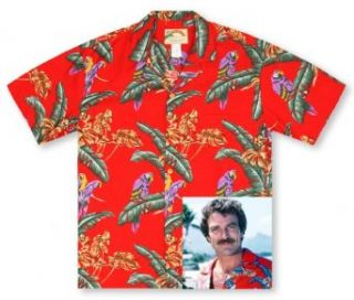 Paradise Found Jungle Bird Red Tom Selleck Magnum PI Hawaiian Shirt at  Men�s Clothing store
