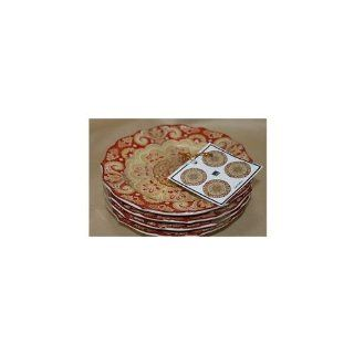 222 Fifth Lyria Saffron Appetizer / Bread Plates, Set of 4 Autumn Harvest Thanksgiving Paisley Kitchen & Dining