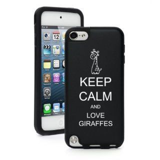 Apple iPod Touch 5th Generation Black BP427 Aluminum & Silicone Hard Case Cover Keep Calm and Love Giraffes Cell Phones & Accessories