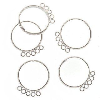 Silver Plated Five Loop Beading Rings Adjustable (x5)