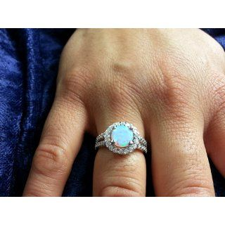 6mm Sterling Silver Round White Opal ring W/ Clear Cz Accents Jewelry