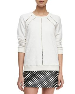 Womens Demi Jacquard Crewneck Sweatshirt   MARC by Marc Jacobs   Antique white