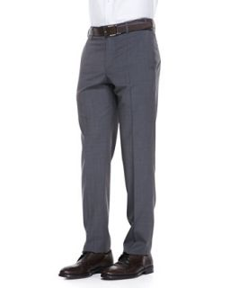 Mens Virgin Wool Flat Front Dress Pants, Blue Tan   Zanella   Tan (38)