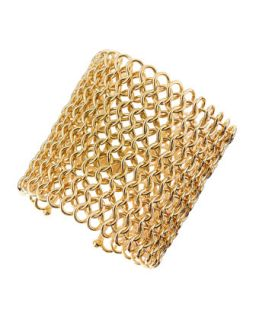 Knights Armor Golden Mesh Cuff Bracelet   Jules Smith   Gold