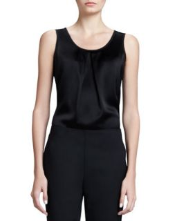 Womens Sleeveless Pleated Neck Shell, Caviar   St. John Collection   Caviar