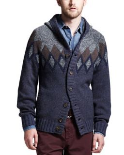 Mens 12 Ply Andes Hooded Cashmere Cardigan   Brunello Cucinelli   Brown/Blue