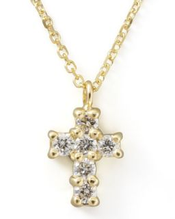 Small Diamond Cross Pendant Necklace, Yellow Gold   KC Designs   Gold