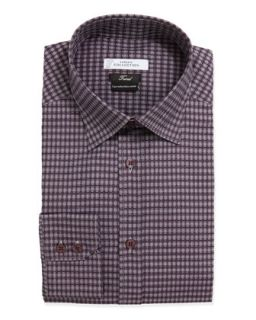 Mens Trend Fit Long Sleeve Check Dress Shirt, Purple   Versace   Purple (46)