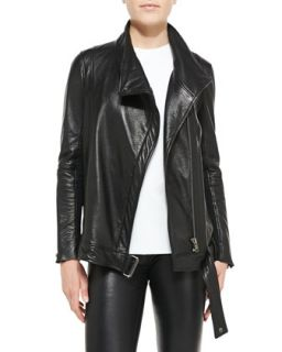 Womens Cluster Oversized Leather Moto Jacket   Helmut Lang   Black (LARGE)