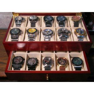 Watch Box for 20 Watches Burlwood Matte Finish XL Extra Large Compartments Soft Cushions Clearance Window Watches