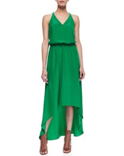 Womens Open Back High Low Halter Maxi Dress, Green   Amanda Uprichard   Green