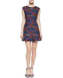Womens Cap Sleeve Floral Flounce Hem Mini Dress   12th Street by Cynthia