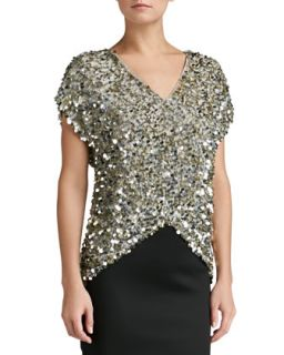 Womens All Over Sequin V Neck Cap Sleeve Top   St. John Collection