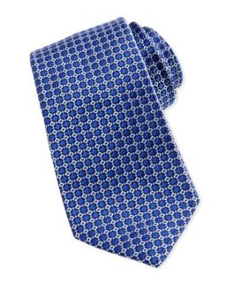 Mens Mini Box Neat Silk Tie, Blue/Aqua   Robert Graham   Blue