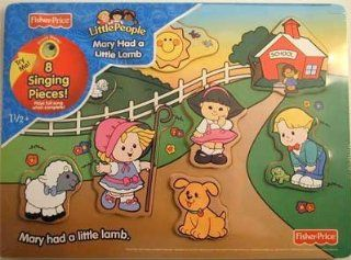 "Fisher Price Little People ""Mary Had a Little Lamb"" 8 Piece Song & Sound Wood Tray Puzzle Toys & Games"