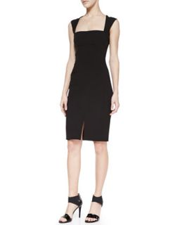Womens Square Neck Sheath Dress With Front Slit   LAgence   Black (4)