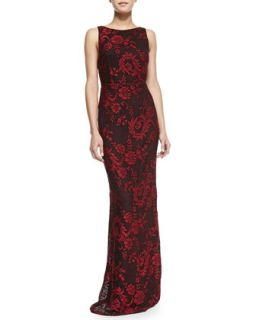 Womens Veda Lace Open Back Gown   Alice + Olivia   Red/Black (4)