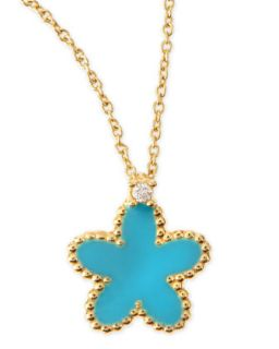 18k Yellow Gold Diamond Flower Pendant Necklace, Turquoise   Roberto Coin