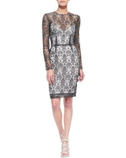 Womens Long Sleeve Lace Dress w/Slip   LAgence   Charcoal/Ivory (4)